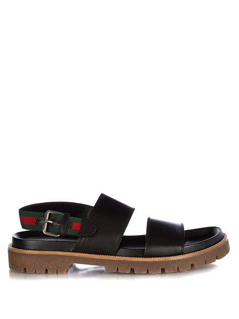 gucci sandals lyst gucci leather sandals in black for