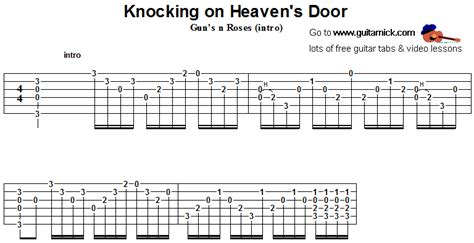 Knocking On Heavens Door Tabs by Knocking On Heaven S Door Gun S N Roses Guitar Tab Guitarnick