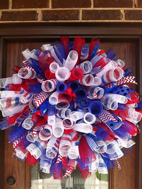 my 4th of july wreath deco mesh wreaths pinterest