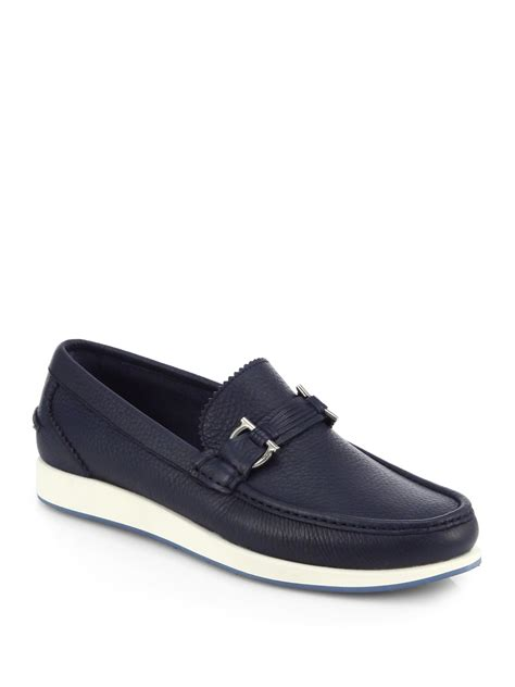blue ferragamo loafers ferragamo leather gancini loafers in blue for lyst