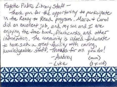 thank you letter to parents from child care provider readytoread welcome to ready to read
