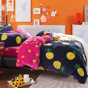 Coral Bed Sheets Bright Yellow Pineapple Print 4 Piece Coral Fleece Duvet