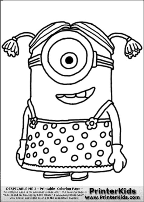 minion coloring pages pdf kleurplaten minions despicable me 2 minion 2 dress