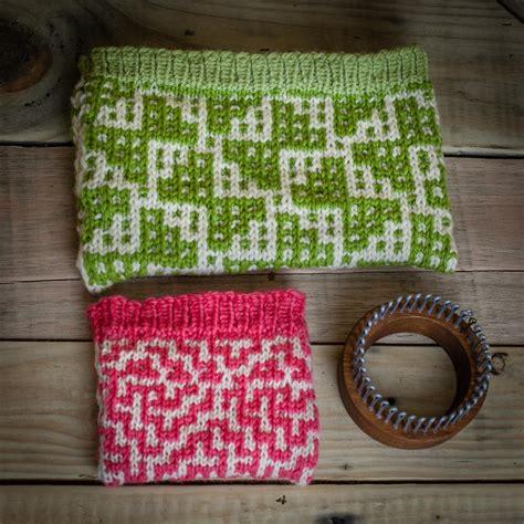knitting make 1 loom knit wallet make up bag 2 pattern set mosaic wallet
