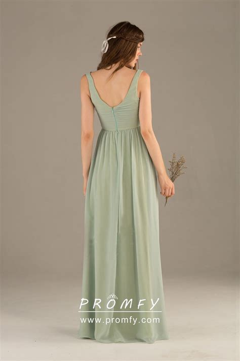 sage green chiffon sleeveless  neck   long simple