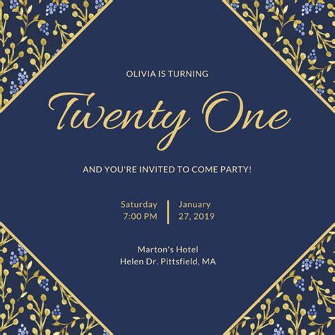 21st birthday invitation templates canva