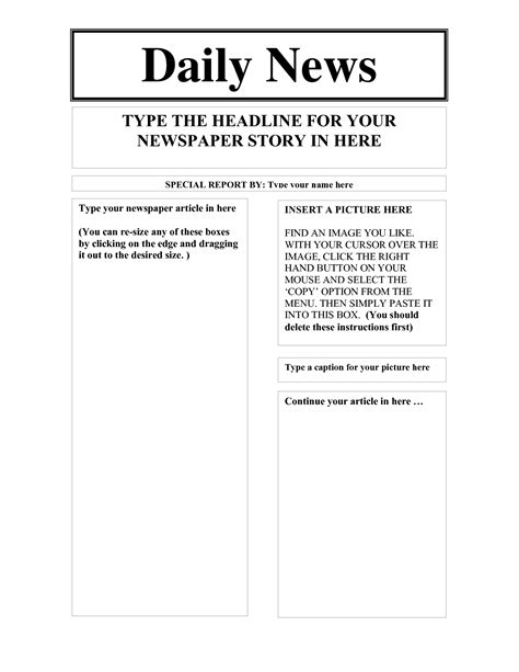 newspaper templates for pages best photos of fill in the blank newspaper layout blank