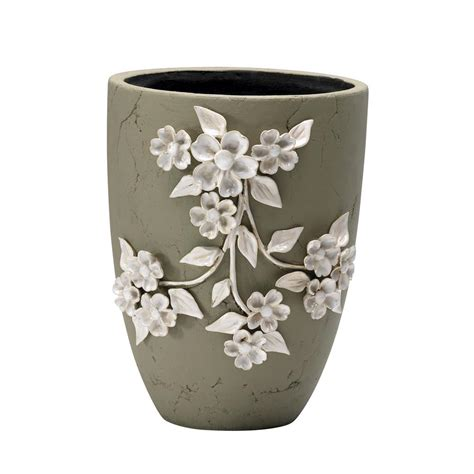Ceramic Planter Pot by Large Sculpted Ivory Flower Ceramic Applique Outdoor