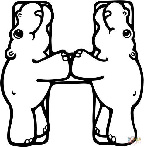 coloring pages letter h letter h is for hippo or hippopotamus coloring page free