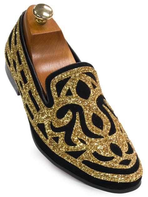 black and gold mens sneakers fiesso mens gold black ornate glitter pattern dress
