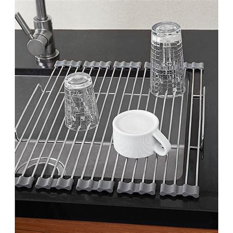 Kitchen Sink With Drying Rack Stainless Foldable Drying Rack The Container Store