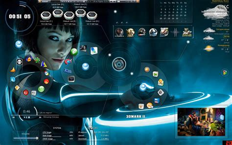 computer themes download 2015 customize windows rainmeter skin tron legacy