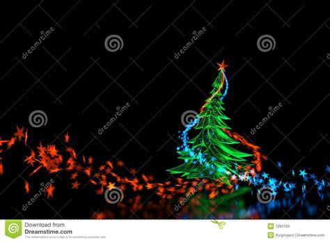 3d neon light christmas tree isolated on black stock