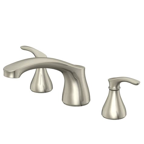shop aquasource garner brushed nickel 2 handle adjustable