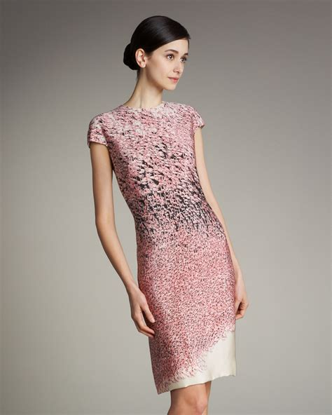 print sleeve silk dress lyst akris flamingo print cap sleeve silk dress in pink