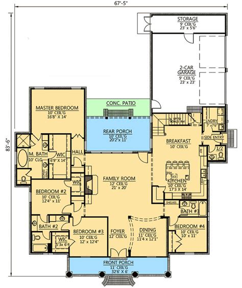 4 bedroom floor plans with bonus room 4 bed acadian house plan with bonus room 56399sm