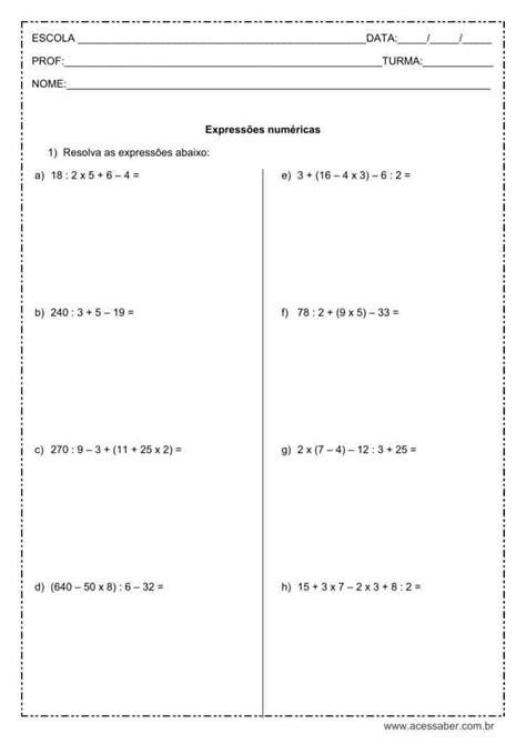 Atividade de matemática: Expressões numéricas - 5º ou 6º ano