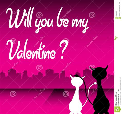 will you be my text postcard with cats stock vector image 49305125