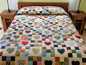 hearts and nine patch quilt outstanding skillfully made