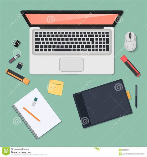 best lap desk for coloring realistic technology workplace organization top view of
