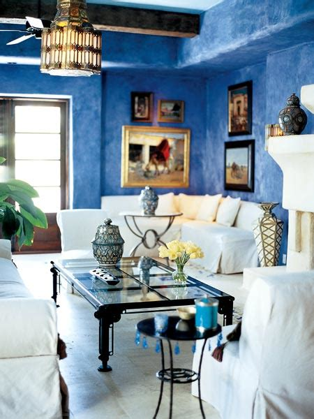 Mediterranean Home Decor Accents Mediterranean Inspired Living Room With Blue Walls And White Furniture From Sothern Accents