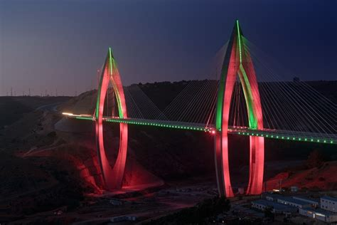 africa s longest cable stayed bridge shines bright in
