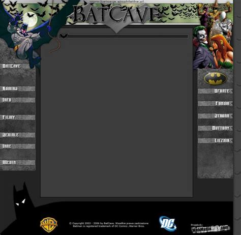 layout komiksu o stronie batcave