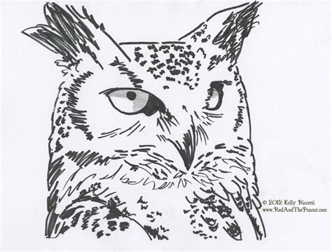 red and the peanut painting a great horned owl and