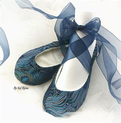 peacock shoes flats ballet flats peacock navy blue turquoise teal