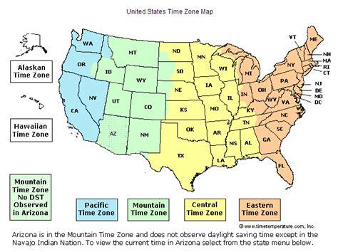 us time zone map arizona arizona time
