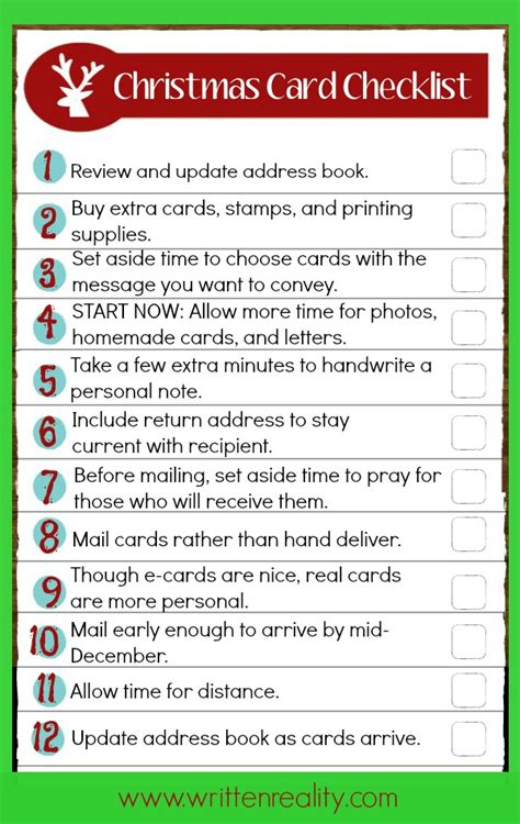 christmas card checklist twice written reality