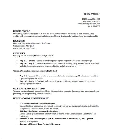 resume for high school students template academic resume template 6 free word pdf document