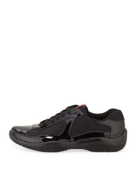 prada sneakers black patent leather prada punta ala patent leather sneaker in black for lyst