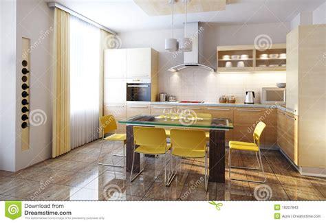 modern kitchen interior 3d rendering modern kitchen interior 3d render stock illustration