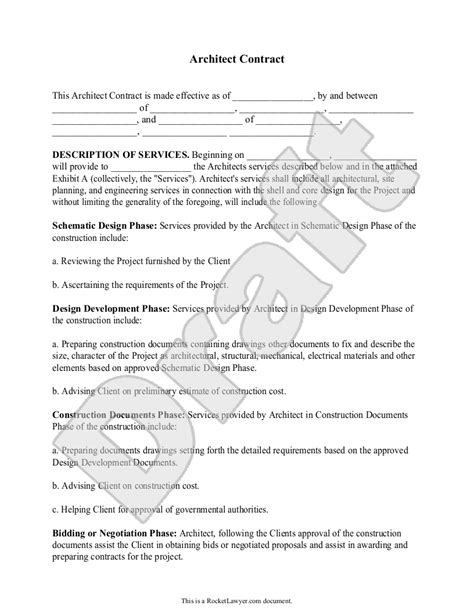 architect contract agreement for client individuals with sle lawyer client agreement