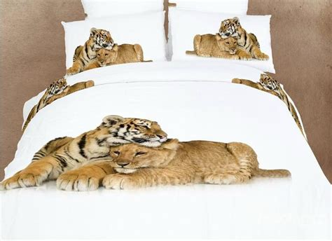 lion comforter heart warming lion and tiger print 4 piece bedding sets