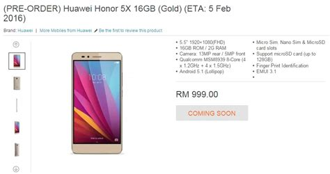 Hp Huawei Honor 5x Di Malaysia the honor 5x is only priced at rm999 thanks to lazada