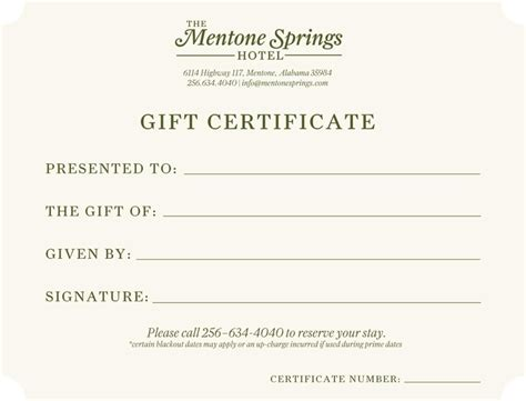 hotel gift certificate template the mentone springs hotel kw design