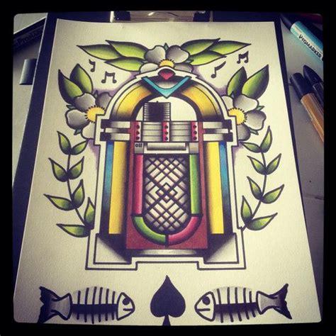 tattoo flash wall art a4 jukebox tattoo flash print op etsy 10 00
