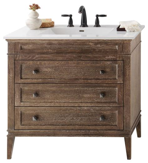 Solid Wood Bathroom Vanities Cabinets Ronbow Laurel Solid Wood 36 Quot Vanity Cabinet Base In Vintage Cafe Transitional Bathroom