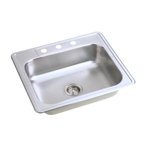 stainless steel single bowl kitchen sink glacier bay drop in stainless steel 25 in 4 hole single