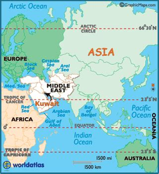 kuwait map / geography of kuwait / map of kuwait