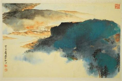 znag painting autumn landscape by zhang daqian at 1stdibs