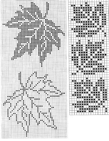 Leaf Pattern Knitting Charts | maple leaf pattern counted cross stitch or filet