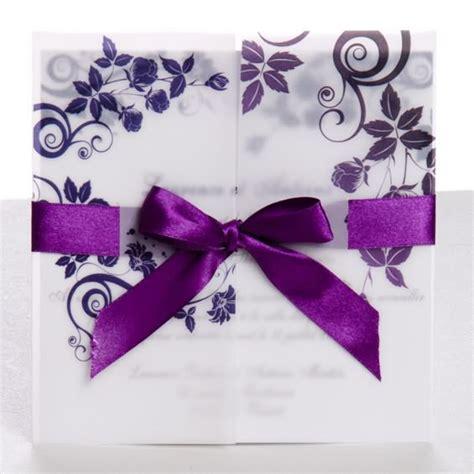Hochzeitseinladungen Lila by Classic Purple Gate Fold Ribbon Wedding Invitations