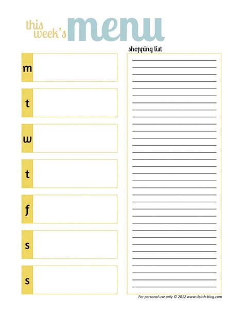 menu planning template with grocery list meal ideas recipes happily unprocessed