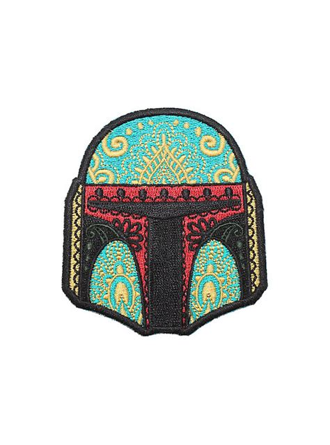 7 Accessories By Loungefly by Loungefly Wars Boba Fett Sugar Skull Helmet Iron On