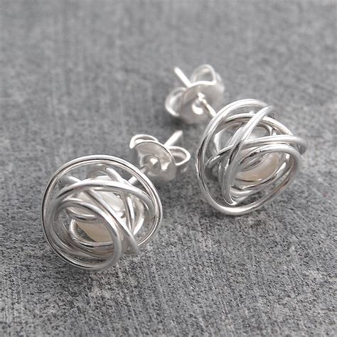 how to make silver jewelry wire wrapped june birthstone pearl silver stud earrings by