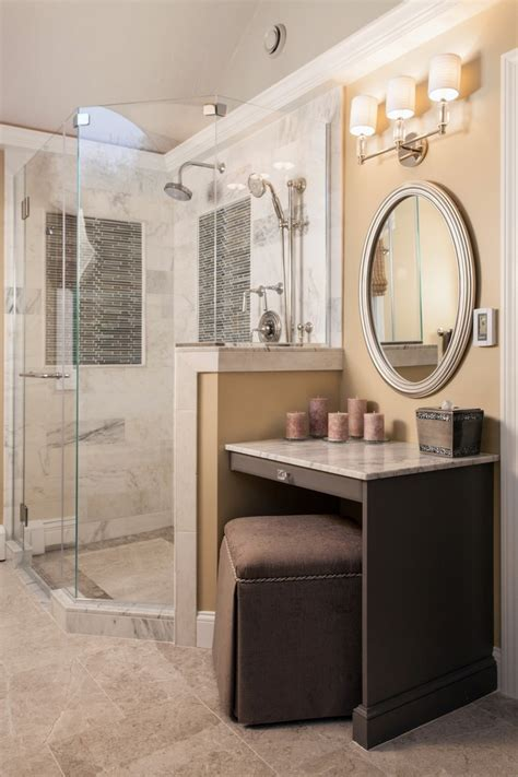built in makeup vanity bathroom eclectic with floor