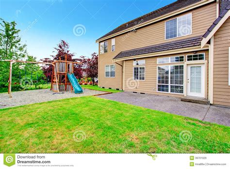 homes with big backyards backyard deck view of playground stock photo image